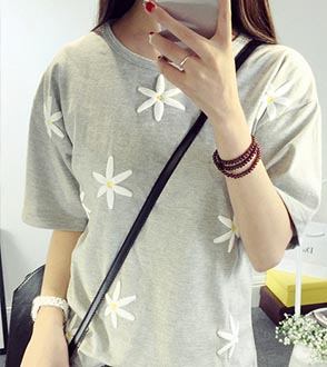 【欧韩】 清新雏菊宽松T恤