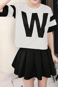 欧美风宽松套装短袖T恤+半身裙